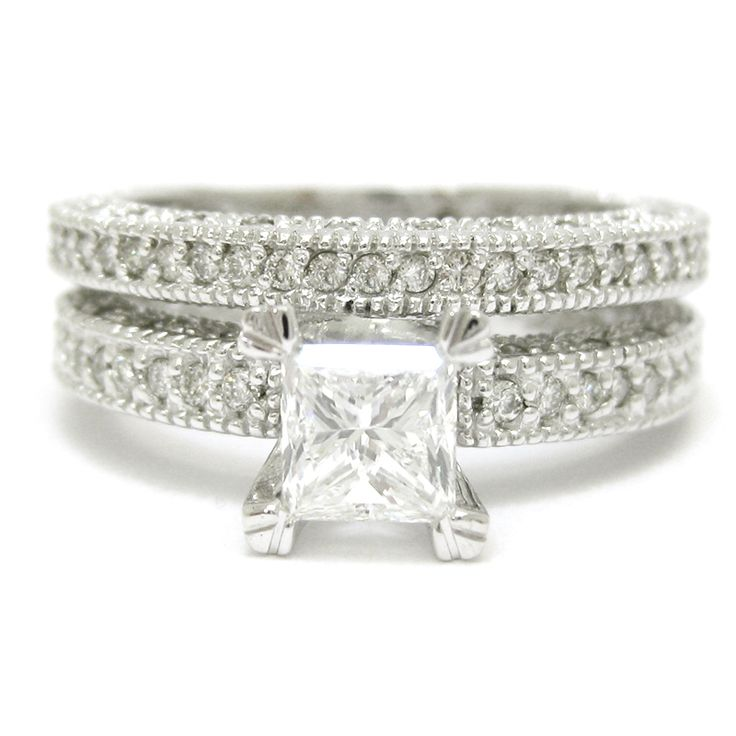 Princess Cut Antique Style Three Sided Eternity Diamond Wedding Ring ...