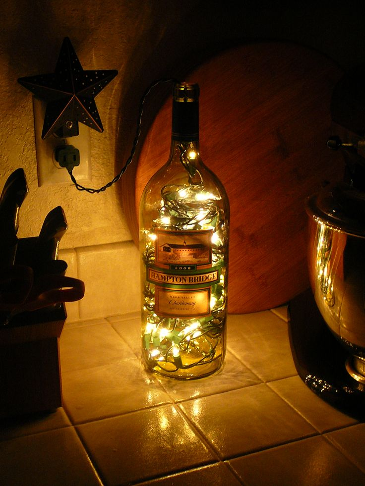 lighted wine bottle for kitchen decor home kitchen