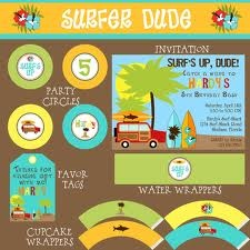 Surfer dude birthday party package boy diy printable