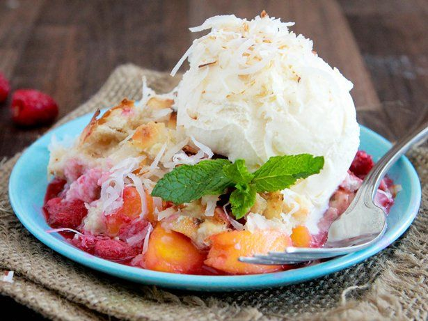 Peach and Raspberry Crumble with a Browned Butter Coconut Topping | R ...