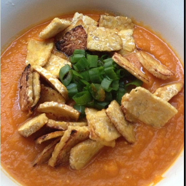 Carrot soup with miso ginger and tempeh | Eat Me! | Pinterest