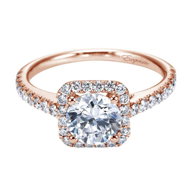 Rose gold halo engagement ring design at GerryTheJeweler Square shape w