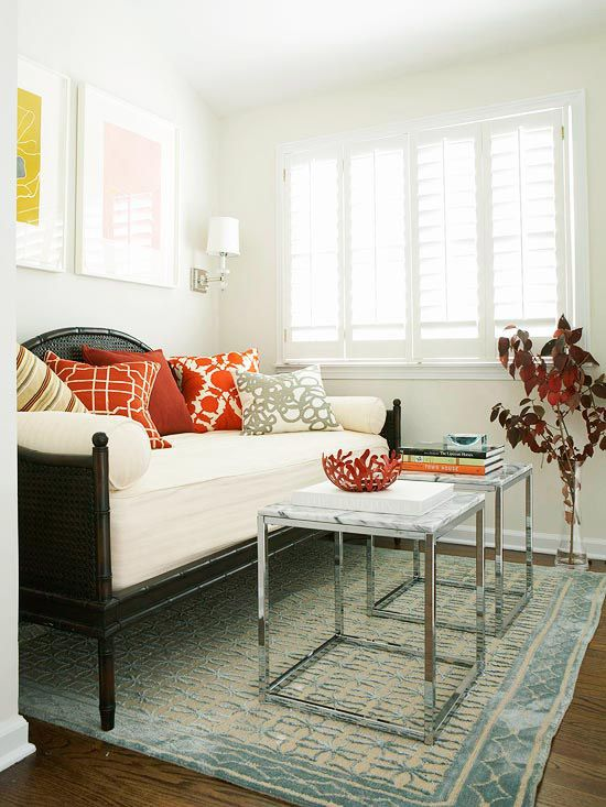 Make a daybed play double duty by using it as a trendy, deep sofa while using it as a guest bed!