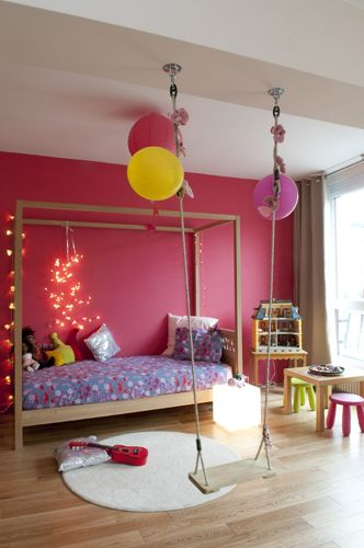 swing in girl 39 s colourful bedroom kool kid indoor spaces pinterest