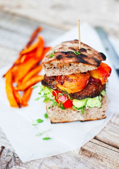 Veggie clubbing ~ Grilled Portobello and Peach Burgers