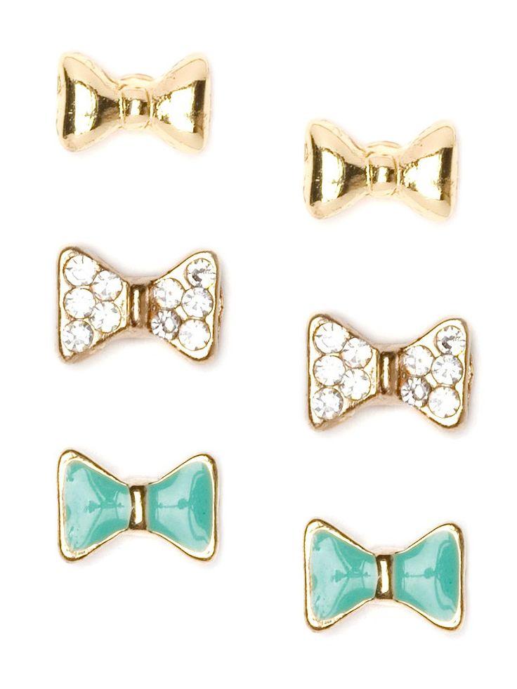 Trio of bowtie stud earrings $22