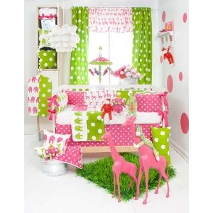 Ellie & Stretch 5 Piece Baby Crib Bedding Set with Pink Elephant Pillow