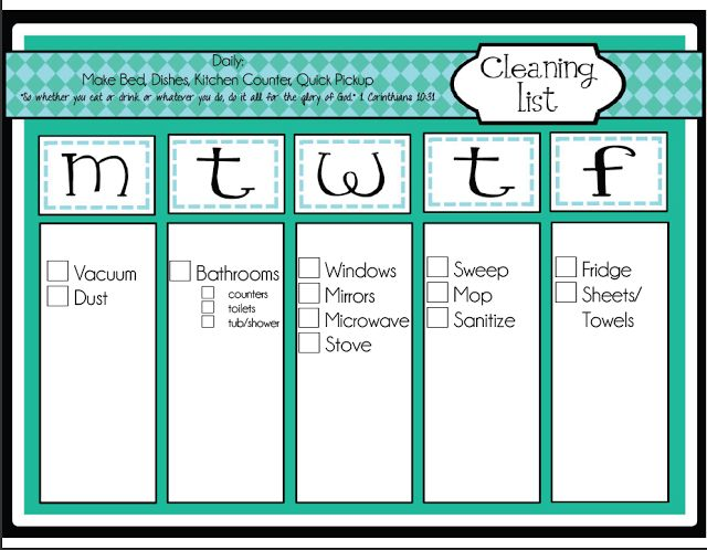 Daily Chore Schedule | Oranization | Pinterest