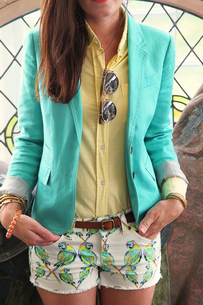 aqua blazer over yellow button up & white patterned shorts.