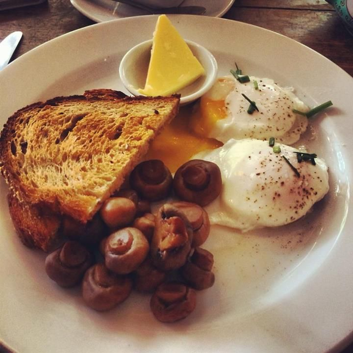 Poached eggs with mushrooms and sourdough toast @ Kawa, Surry Hills