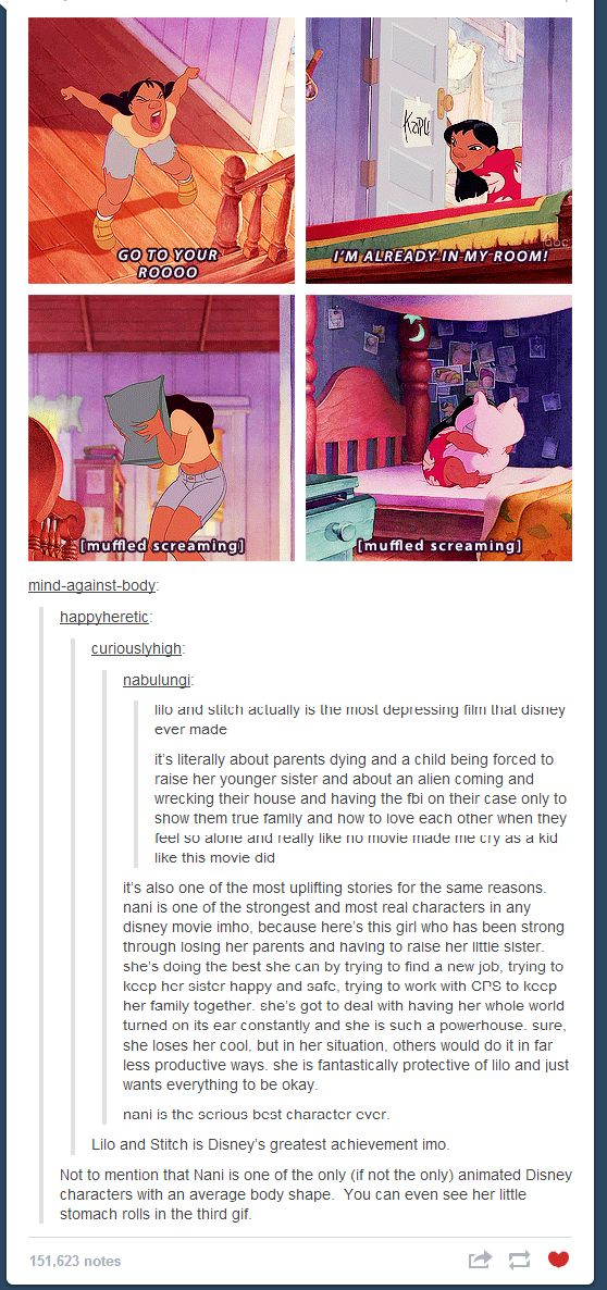 This is soooo true and so cool to think about. Love Lilo and Stitch! Nani is definitely a warrior!