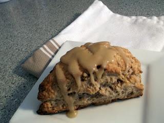 Banana Bread Scones with Brown Sugar Glaze. Yummy!!
