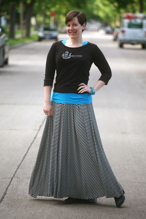 Already Pretty outfit featuring Happify City of Lakes shirt, teal shirt, Rachel Pally striped maxi skirt, wrap bracelet