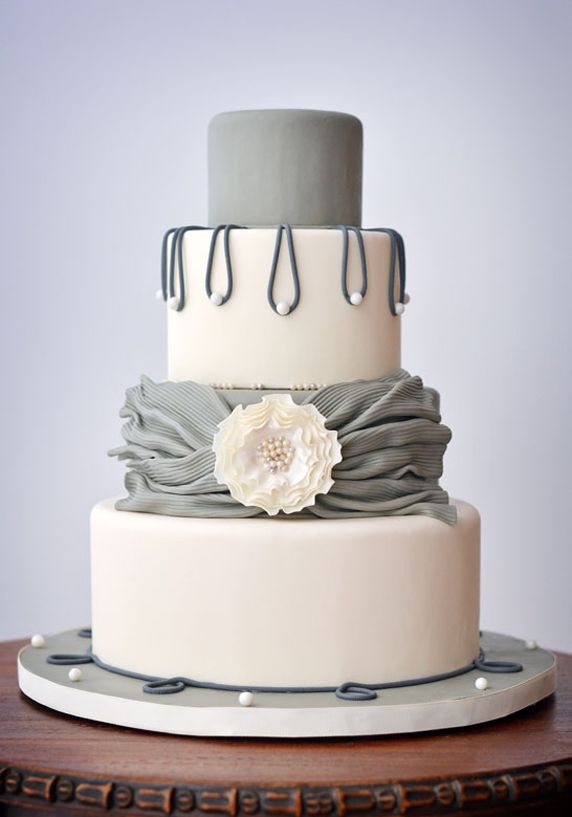 Grey Wedding Cake with Pearls Can I get married again just to have this cake? PLEASE