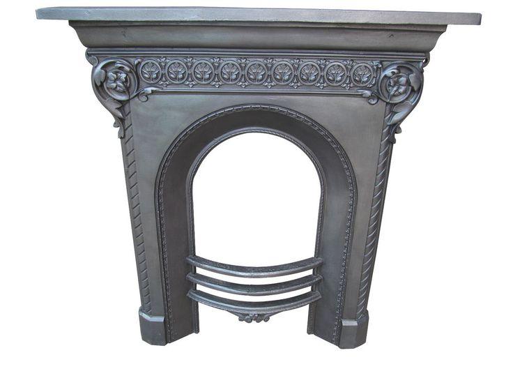 Original Antique Victorian Cast Iron Fireplace Mantel