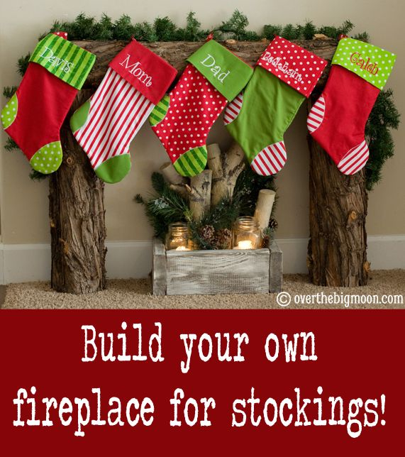 Build your own Fireplace for Stockings - Super easy and great tutorial from Over the Big Moon!