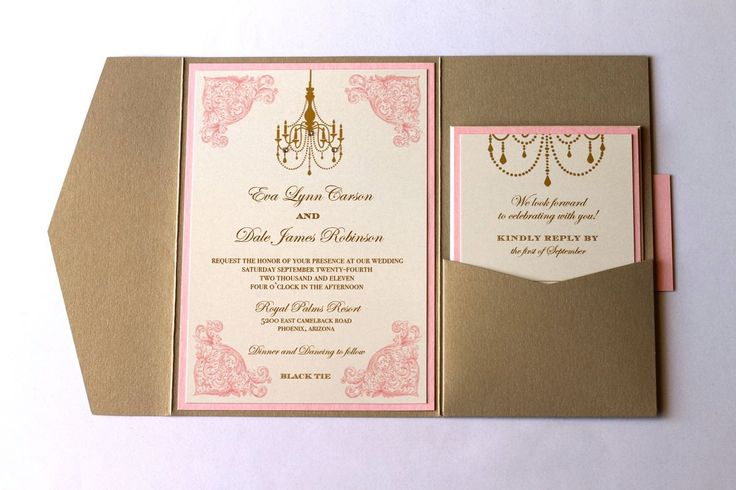 Eva Pocket Fold Vintage Wedding Invitation Ivory Gold