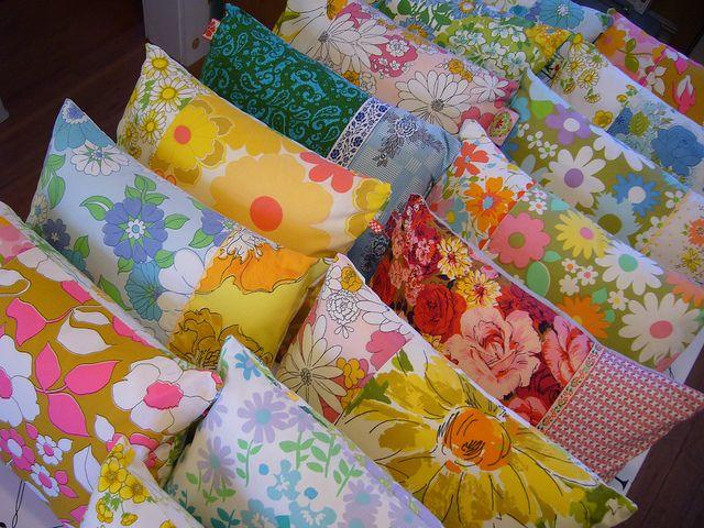 inspiration... vintage fabric pillows