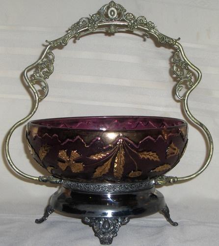 Фиолетового стекла викторианской Изысканная корзине Свадебные Никербокер Четырехместный Plate 1900-х годов