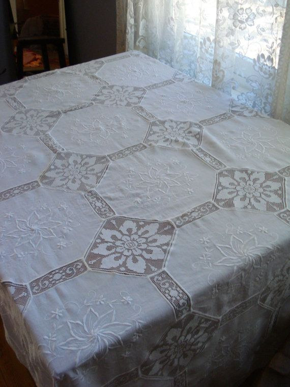 Vintage 1960s White Linen Tablecloth Lace and Embroidered 2013372