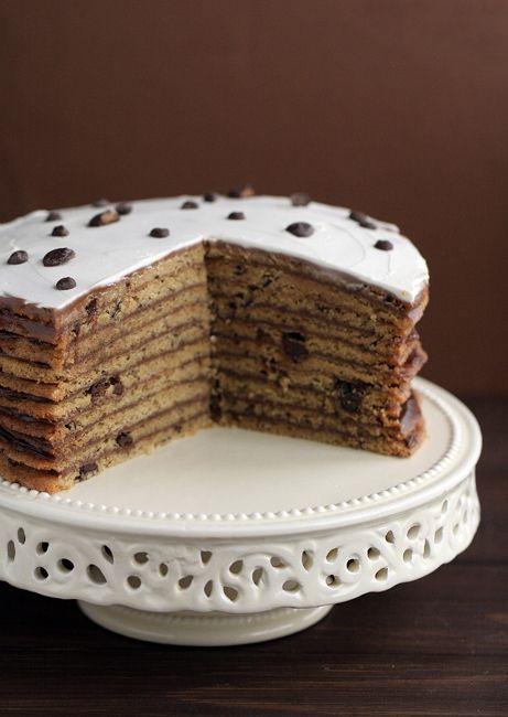 ღ Dream On ღ༺☆* .....chocolate chip cookie cake with Nutella ...