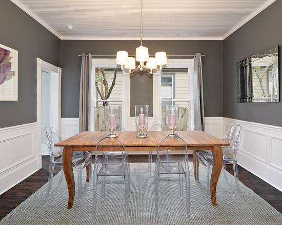 Bows boxwoods dining room transformation for Dining room grey walls