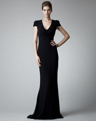 Fitted Cap-Sleeve Gown, Black by Alexander McQueen at Bergdorf Goodman.