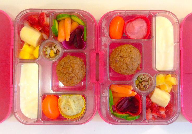 strawberries, cucumber, baby carrots, beetroot, banana quinoa muffin ...