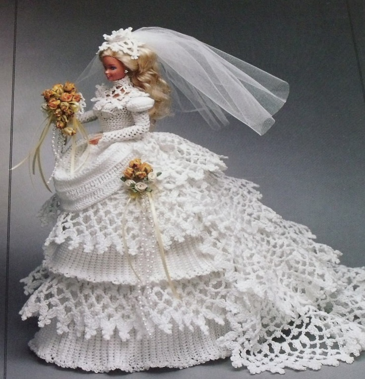 Annies Crochet Patterns : Annies Attic 1993 Crochet Barbie Bride Doll Gown Pattern