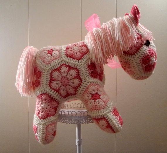 Free Crochet Pattern For Horse : Crochet Horse Pony African Flower Motifs by ...