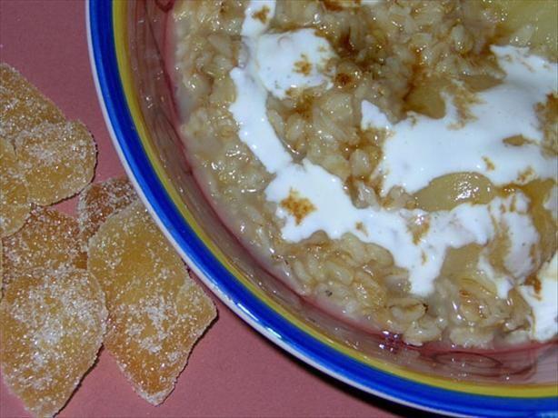 Ginger pear oatmeal. I used half a fresh pear, added cinnamon and ...
