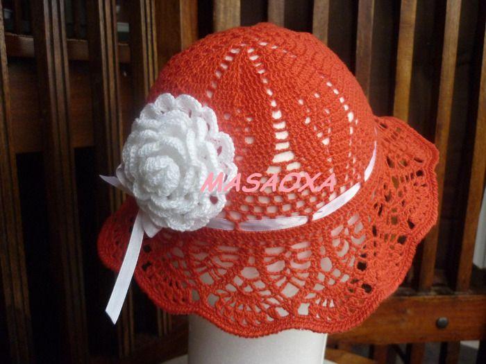 Red Panama Baby Hat free crochet graph pattern Crochet ...