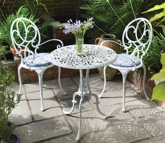 white metal patio furniture backyard garden pinterest