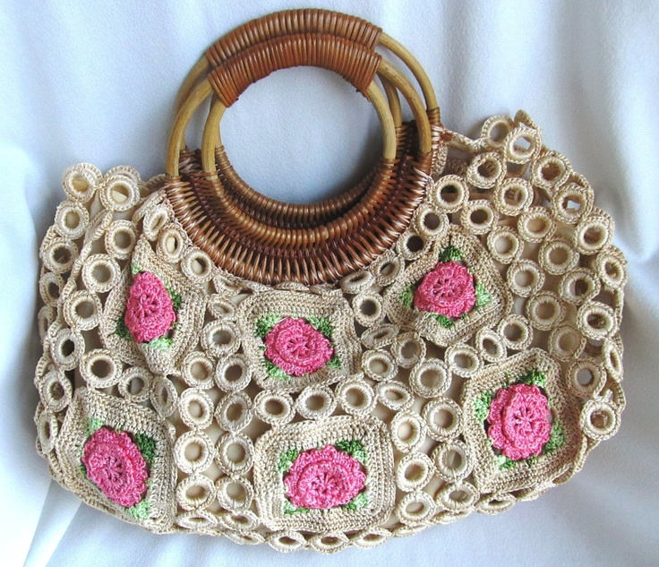 Hanky Panky Crochet Purse Boho Bag Doily Roses Wood Handles Hippie ...