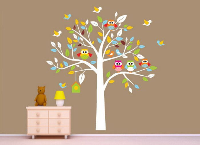 Nursery murals nursery room with owls nursery mural for Baby nursery wall mural