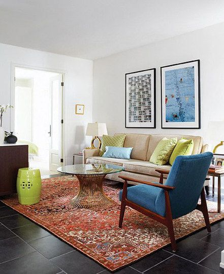 Complementary contrasts oriental rugs and kilims with - Modern rugs for living room ...
