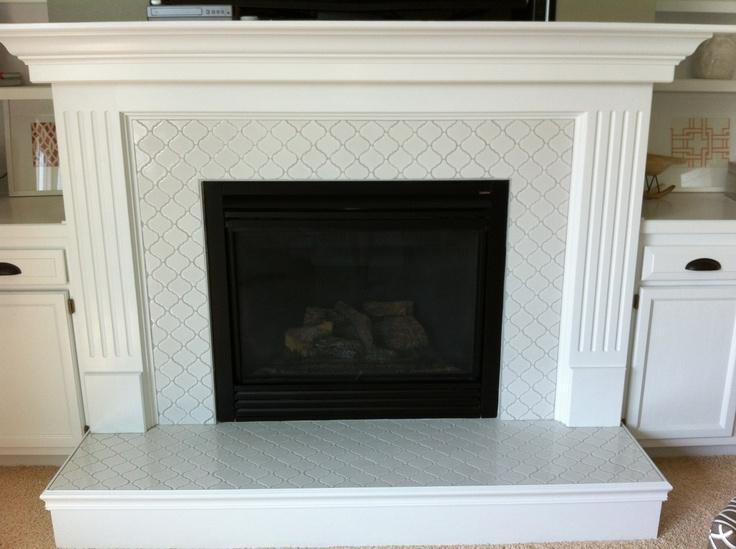 moroccan tile on fireplace and kitchen backsplash