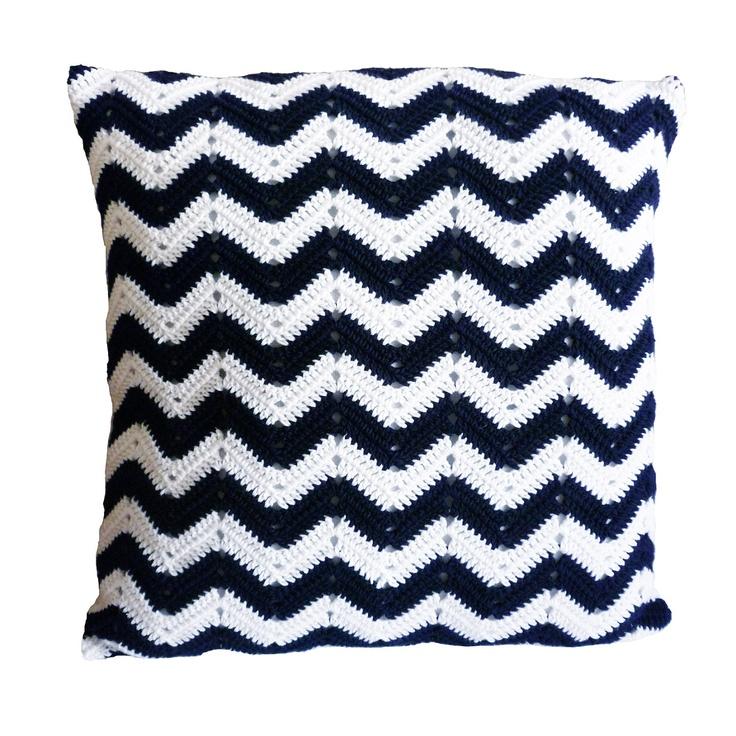 Etsy Navy Throw Pillow : Navy Blue Crocheted Chevron Pillow - Organic Cotton Throw Pillow