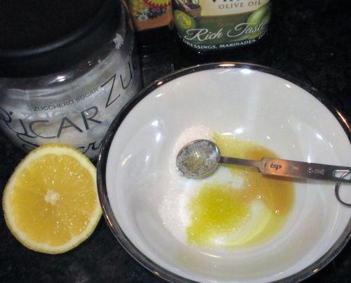 Lip scrub... 1/2 tsp olive oil, 1 tsp honey, 3 tsp sugar, and a splash of lemon. mix and message onto lips!
