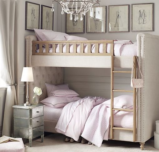 Soft, chic and sweet girls room ideas - LOVE the upholstered bunk bed!