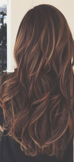 Long brunette caramel highlights