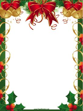 christmas borders for word | Ribbons Bells and Holly Christmas Border ...