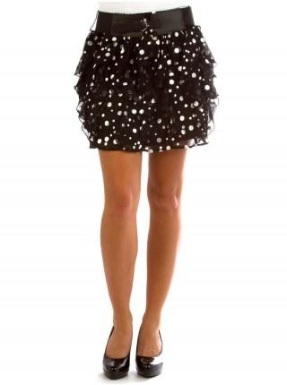 Dot Lurex Belted Skirt