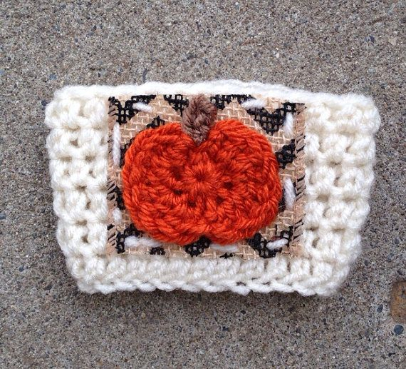 Crochet Pumpkin Coffee Cozy White & Orange Pumpkin Spice with Chevron ...