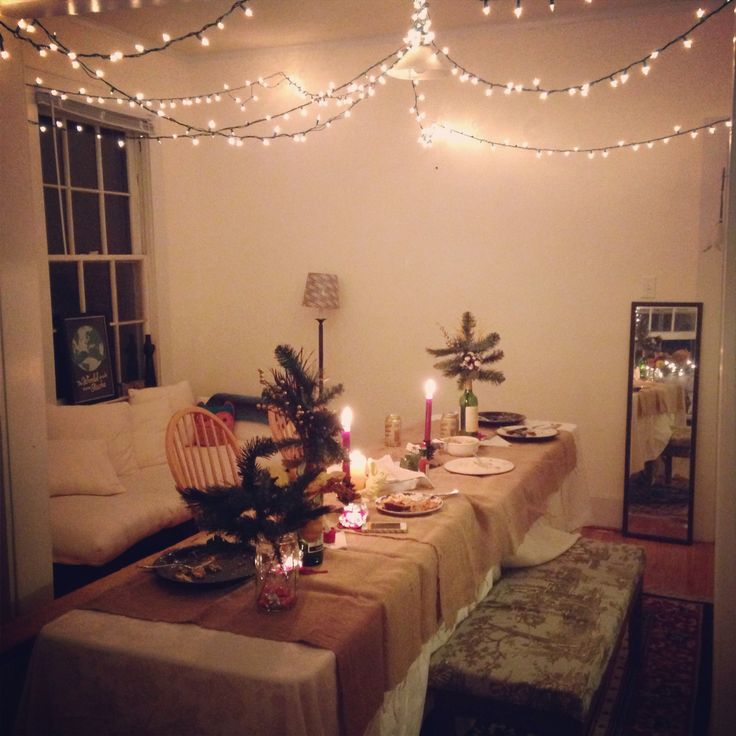 Our friendsgiving decorations the lights were my favorite