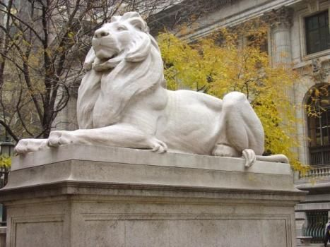 The Library Lions - The Reading room at the New York Public Library 42nd Street Branch.