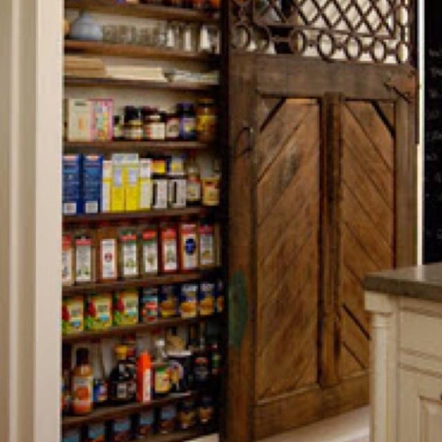 Sliding barn door pantry home pinterest for Sliding pantry doors