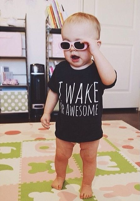 I Wake Up Awesome!  For the kid who is so awesome, they wake up that way!  Our Vintage Inspired Tri-Blend Tees are super soft and flexible! The most comfortable tee ever! (We think)  Our Tri-Blend tees are 50% Polyester / 25% Cotton / 25% Rayon  Polyester retains shape and elasticity; Cot...
