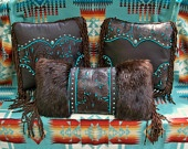 "Leather fur pillow home decor vintage Western style tan tooled leather ""cowboy boot"" design turquoise cowgirl STARGAZER MERCANTILE. $295.00, via Etsy."