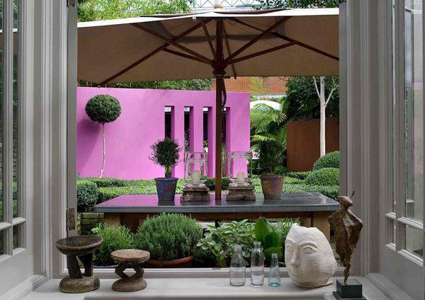 Juego de comedor con sombrilla jardines pinterest for Comedor de jardin con sombrilla